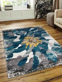 Machine Woven Polypropylene Area Rug Turkish Floral Silver Blue