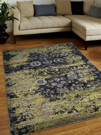 Machine Woven Polypropylene Area Rug Turkish Oriental Silver