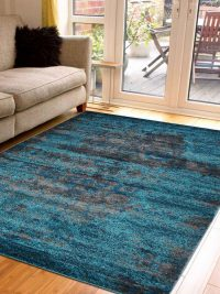 Machine Woven Polypropylene Area Rug Turkish Oriental Silver Blue
