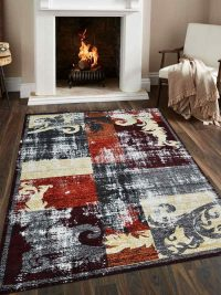 Machine Woven Polypropylene Area Rug Turkish Floral Multi
