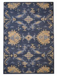 Hand Knotted Wool Area Rug Floral Blue