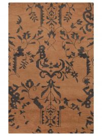 Hand Knotted Wool Area Rug Floral Beige