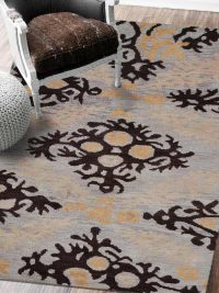 Hand Knotted Wool Area Rug Floral Beige Brown