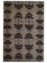 Hand Knotted Wool Area Rug Floral Brown