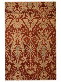 Hand Knotted Wool Area Rug Floral Red Gold