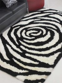 Hand Tufted Polyester Shag Area Rug Solid Black White