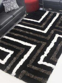 Hand Tufted Polyester Shag Area Rug Geometric Black Beige