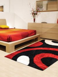 Hand Tufted Polyester Shag Area Rug Geometric Black Red K00025