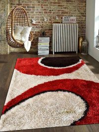 Hand Tufted Polyester Shag Area Rug Contemporary Red Ivory