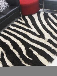 Hand Tufted Polyester Shag Area Rug Contemporary Brown Ivory