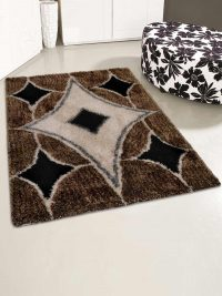 Hand Tufted Polyester Shag Area Rug Contemporary Multicolor