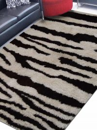 Hand Tufted Polyester Shag Area Rug Contemporary Brown White