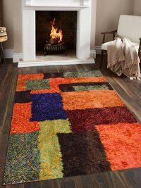 Hand Tufted Polyester Shag Area Rug Solid Multicolor