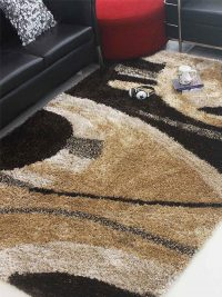 Hand Tufted Polyester Shag Area Rug Contemporary Multi