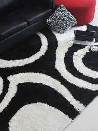Hand Tufted Polyester Shag Area Rug Contemporary Black White