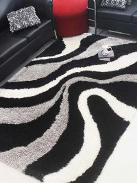 Hand Tufted Polyester Shag Area Rug Contemporary Black Beige