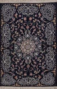 Wool/Silk Navy Blue Floral Signed Isfahan Persian Rug 4x6