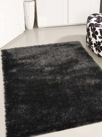 Hand Tufted Polyester Shag Area Rug Solid Black