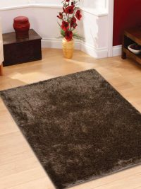 Hand Tufted Polyester Shag Area Rug Solid Brown