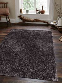 Hand Tufted Polyester Shag Area Rug Solid Light Brown