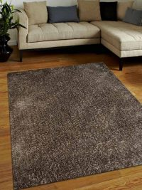 Hand Tufted Polyester Shag Area Rug Solid Light Brown Beige