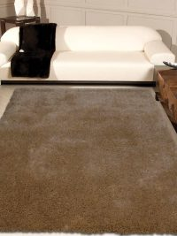 Hand Tufted Polyester Shag Area Rug Solid Ivory K00111