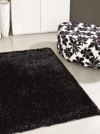 Hand Tufted Polyester Shag Area Rug Solid Silver Black