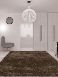 Hand Tufted Polyester Shag Area Rug Solid Silver White
