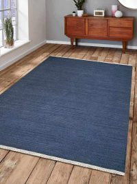 Hand Woven Flat Weave Kilim Wool Area Rug Contemporary Blue