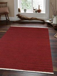 Hand Woven Flat Weave Kilim Wool Area Rug Contemporary Burgundy