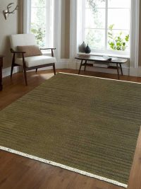 Hand Woven Flat Weave Kilim Wool Area Rug Contemporary Olive
