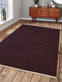 Hand Woven Flat Weave Kilim Wool Area Rug Contemporary Plum