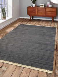 Hand Woven Flat Weave Kilim Wool Area Rug Contemporary Silver