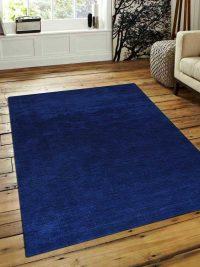 Hand Knotted Loom Wool Area Rug Solid Aqua