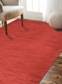 Hand Knotted Loom Woolen Area Rug Solid Tera