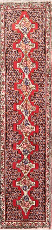 Geometric Heriz Serapi Persian Rug Runner 3x14