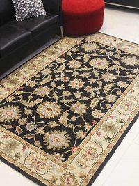 Hand Tufted Wool Area Rug Oriental Black Beige