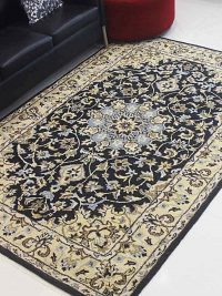 Hand Tufted Wool Area Rug Oriental Black Gold