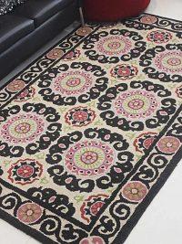 Hand Tufted Wool Area Rug Oriental Beige Multicolor