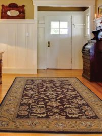 Hand Tufted Wool Area Rug Oriental Brown Gold