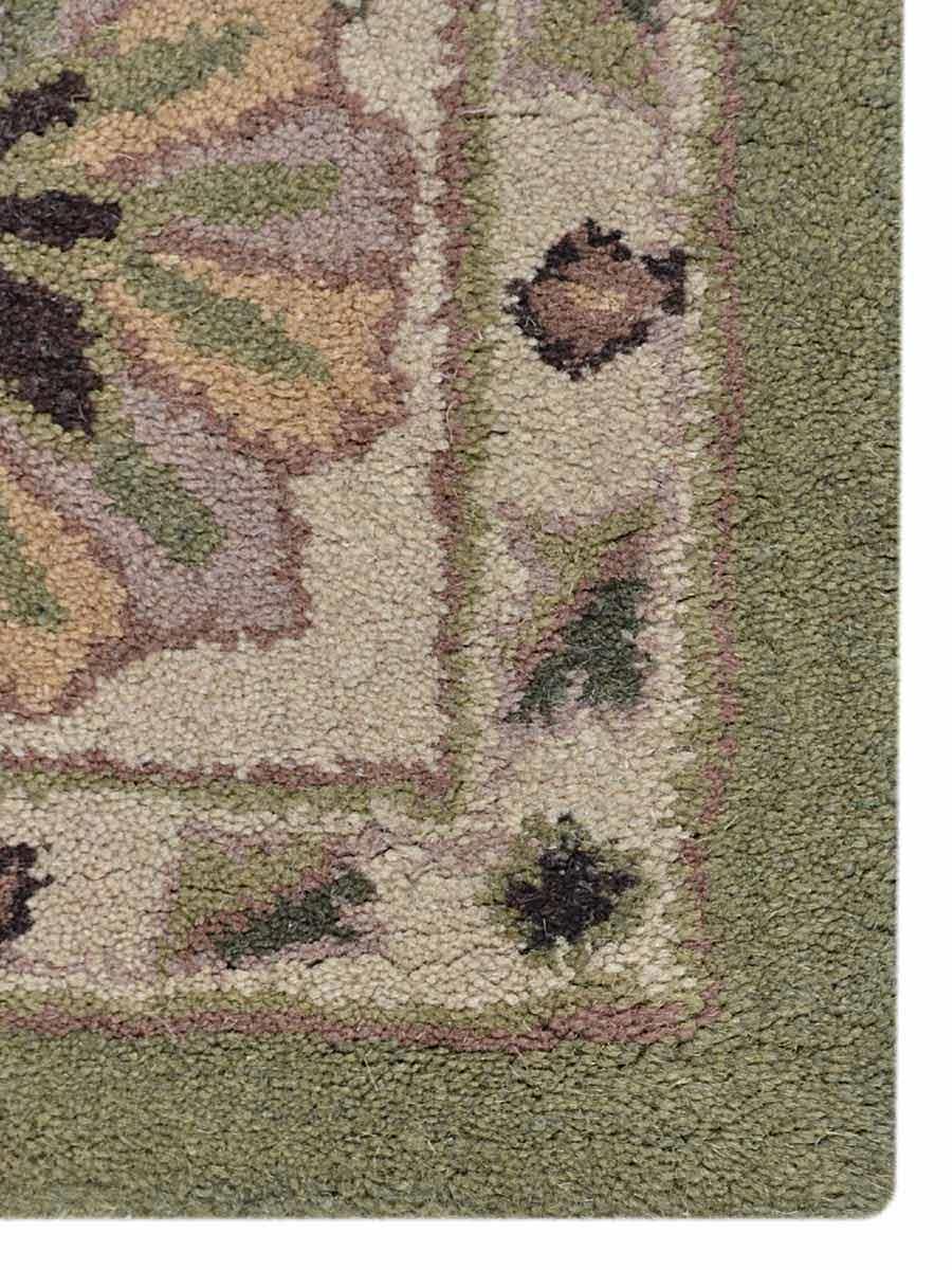 Hand Tufted Wool Oriental Green Beige