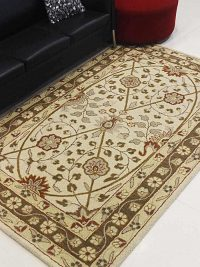 Hand Tufted Wool Area Rug Oriental Cream