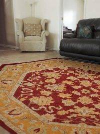 Hand Tufted Wool Octagon Area Rug Oriental Red Gold