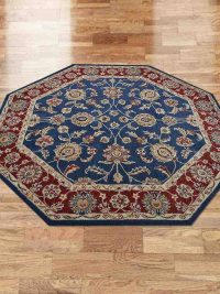 Hand Tufted Wool Octagon Area Rug Oriental Blue Dark Red