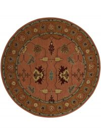Hand Tufted Wool Round Area Rug Oriental Copper Gold