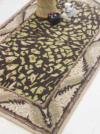 Hand Tufted Wool Area Rug Oriental Brown Beige