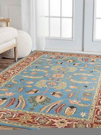 Hand Tufted Wool Area Rug Oriental Blue Red