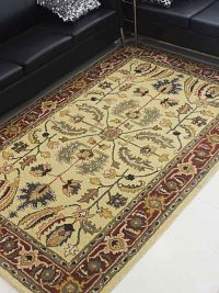 Hand Tufted Wool Area Rug Oriental Gold Red