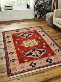 Hand Knotted Afghan Wool And Silk Oriental Area Rug Kazak Red Beige