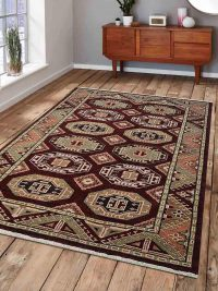 Hand Knotted Afghan Wool And Silk Oriental Area Rug Kazak Multi
